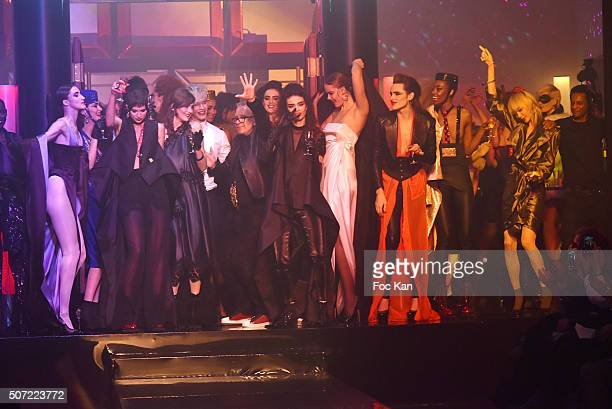 Jean Paul Gaultier and models dance on the Ruway during the Jean Paul Gaultier Spring Summer 2016 show as part of Paris Fashion Week on January 27...