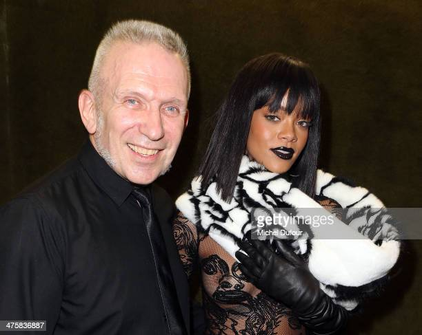 Jean Paul Gaultier and Rihanna pose after the Jean Paul Gaultier show as part of the Paris Fashion Week Womenswear Fall/Winter 20142015 on March 1...