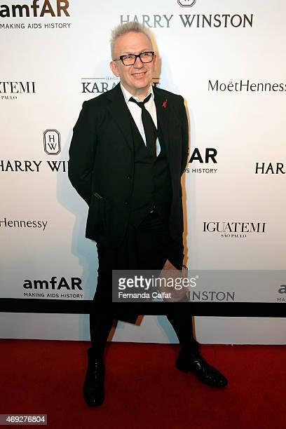 Jean Paul Gaultier attends the 5th Annual amfAR Inspiration Gala at the home of Dinho Diniz on April 10 2015 in Sao Paulo Brazil