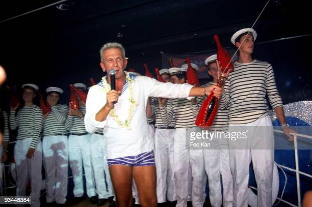 Jean Paul Gaultier, Launching a Heidsieck Bottle of Champagne he Designed and Sailors