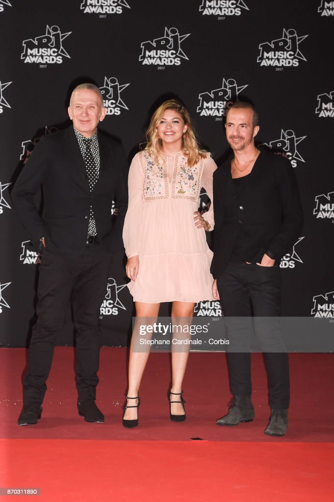 Jean Paul Gaultier, Louane and Calogero attend the 19th NRJ Music Awards on November 4, 2017 in Cannes, France.