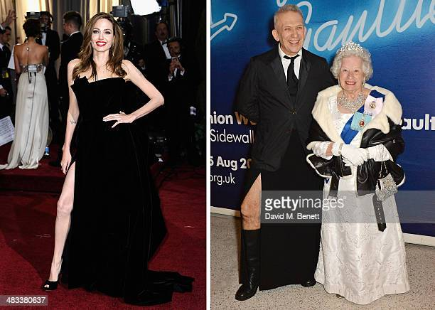 In this composite image a comparison has been made between actress Angelina Jolie and designer Jean Paul Gaultier LONDON ENGLAND APRIL 07 Jean Paul...