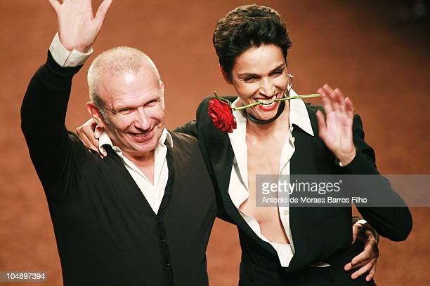 Jean Paul Gaultier walks the runway during the Hermes Ready to Wear Spring/Summer 2011 show during Paris Fashion Week at Halle Freyssinet on October...