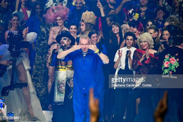 Jean Paul Gaultier walks the runway during the Jean-Paul Gaultier Haute Couture Spring/Summer 2020 show as part of Paris Fashion Week at Theatre Du...