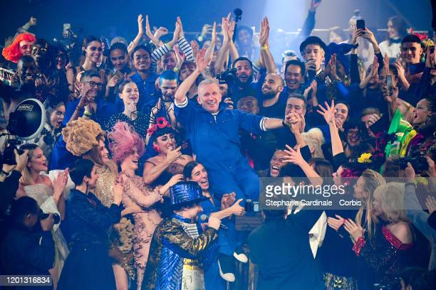 Jean Paul Gaultier walks the runway during the JeanPaul Gaultier Haute Couture Spring/Summer 2020 show as part of Paris Fashion Week at Theatre Du...