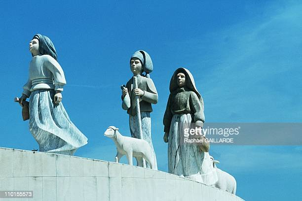 Jean Paul II beatification of 2 small shepherds in Fatima Portugal in May 2000 Statue of the 3 children who saw the Virgin