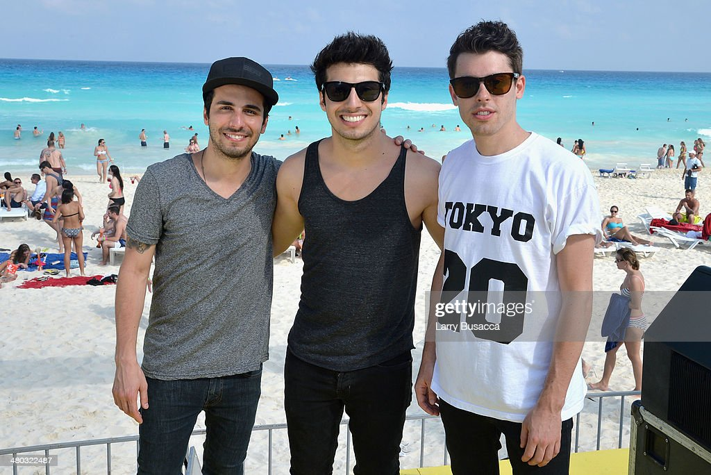 Jean Paul Makhlouf, Alex Makhlouf, and Samuel Frisch of Cash Cash attend mtvU Spring Break 2014 at the Grand Oasis Hotel on March 21, 2014 in Cancun, Mexico.'mtvU Spring Break' starts airing March 31st on mtvU.