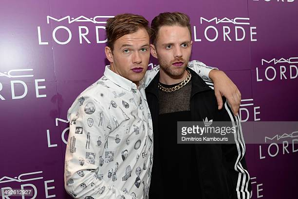 Jean Philip Grobler of St Lucia and Max Hershenow from MS MR pose for a photo as MAC Cosmetics launch their collboration with Lorde at the MAC Pro...