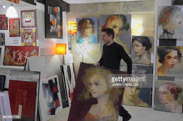 Jean Philippe Berger in her artist gallery Open Art Galerie located Rue Auguste Comte Dijon Cote d Or department Burgundy region France