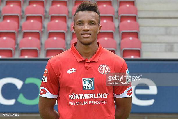 Jean Philippe Gbarmin poses during the official team presentation of 1 FSV Mainz 05 at Opel Arena on July 25 2016 in Mainz Germany
