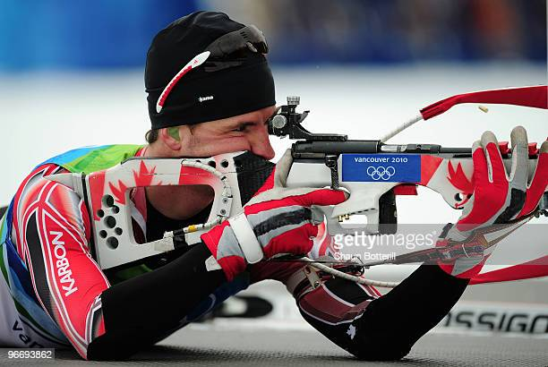 Jean Philippe Leguellec of Canada competes in the men's biathlon 10 km sprint final during the Biathlon Men's 10 km Sprint on day 3 of the 2010...