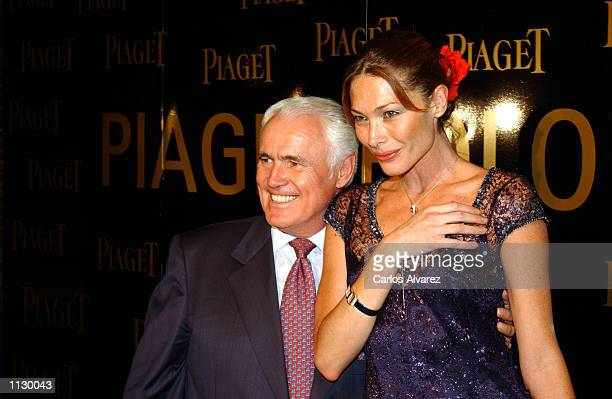 Jean Piaget and Spanish model Cristina Piaget attend a party July 2 2002 for the new Piaget Swiss watch Polo Society in Madrid Spain