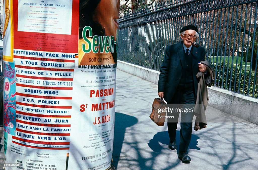 Jean Piaget Taking a Walk : News Photo