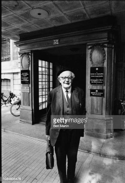 Jean Piaget Swiss psychologist known for his work in child development leaving Palais Wilson at the University of Geneva July 5th 1969