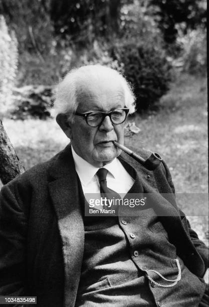 Jean Piaget Swiss psychologist known for his work in child development sitting in the garden of his Geneva home July 5th 1969
