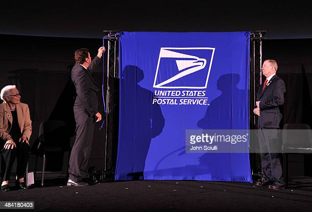 Jean Picker Firstenberg Fraser Heston and Mickey D Barnett attend the postage stamp ceremony during the 2014 TCM Classic Film Festival at TCL Chinese...