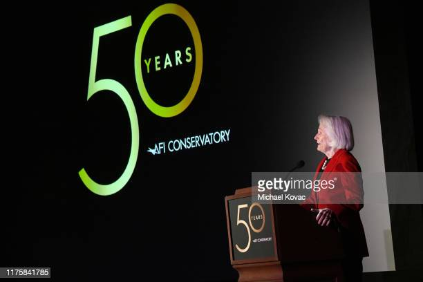 Jean Picker Firstenberg speaks onstage during AFI Conservatory's 50th Anniversary Celebration at Greystone Mansion on September 19 2019 in Beverly...