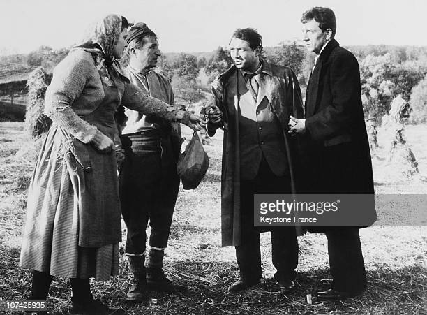 Jean Pierre Cassel And Claude Brasseur With Mr Francois Baron In A Scene Of The Film Le Caporal Epingle In France On November 23Rd 1961