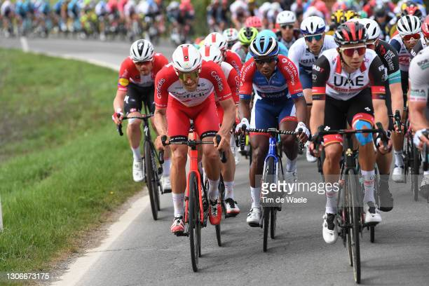 Jean Pierre Drucker of Luxembourg and Team Cofidis & Lorrenzo Manzin of France and Team Total Direct Energie during the 56th Tirreno-Adriatico 2021,...