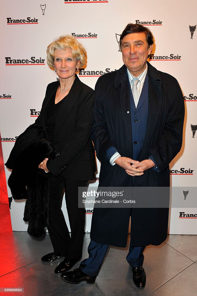 Jean Pierre Foucault with his Wife attend France Soir Launch Party in Paris.