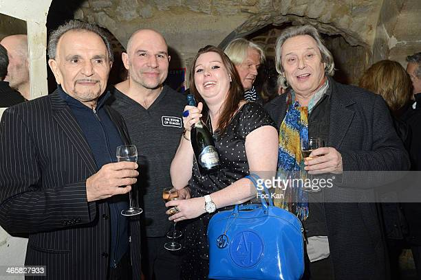 Jean Pierre Kalfon, Vincent Moscato, Jessica Holgado and Patrick Bouchitey pose with a bottle of Selosse Pajon champagne sponsor of the Party during...