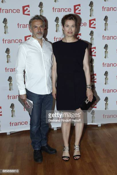 Jean Pierre Lorit and Emmanuelle Devos attend 'La Nuit des Molieres 2017' at Folies Bergeres on May 29 2017 in Paris France