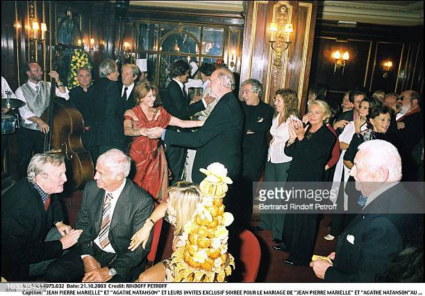 Jean Pierre Marielle and Agathe Natanson and their guests party for the wedding of Jean Pierre Marielle and Agathe Natanson at the theater Edouard VII