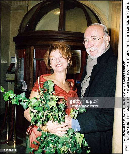 Jean Pierre Marielle and Agathe Natanson party for the wedding of Jean Pierre Marielle and Agathe Natanson at the theater Edouard VII