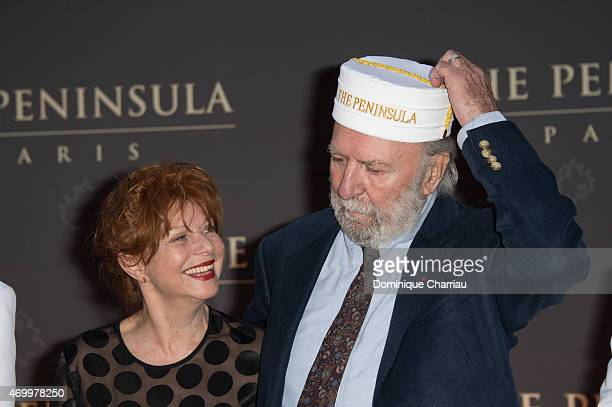 Jean Pierre Marielle and his wife Agathe Natanson attend attend the The Peninsula Paris Photocall Opening Ceremony on April 16 2015 in Paris France