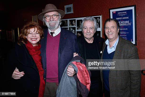 Jean Pierre Marielle and his wife Agathe Natanson with Actors of the Piece Pierre Arditi and Daniel Russo attend the L'Etre ou pas Theater play at...