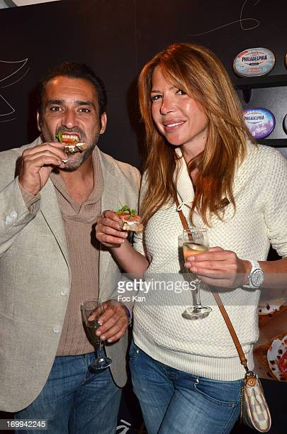 Jean Pierre Martins and Alexandra Genoves attend the Philadelphia 'Bar A Tartines' Launch Party In Paris at the Philadelphia Ephemere Shop on June 4...