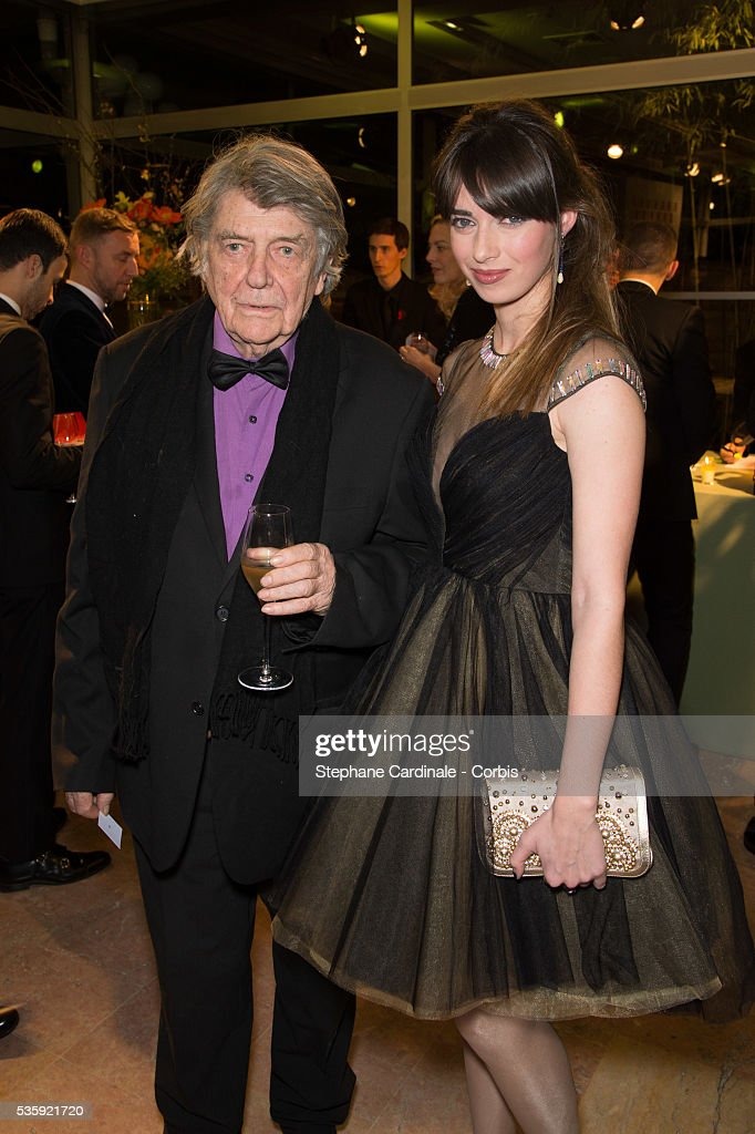 Jean Pierre Mocky and Sarah Barzyk Aubrey attend the Sidaction Gala Dinner at Pavillon d'Armenonville, in Paris.