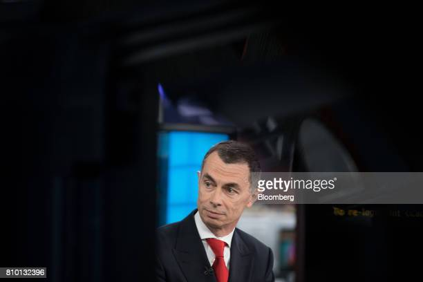 Jean Pierre Mustier chief executive officer of UniCredit SpA pauses during a Bloomberg Television interview in London UK on Friday July 7 2017...