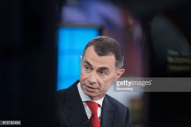 Jean Pierre Mustier chief executive officer of UniCredit SpA speaks during a Bloomberg Television interview in London UK on Friday July 7 2017...