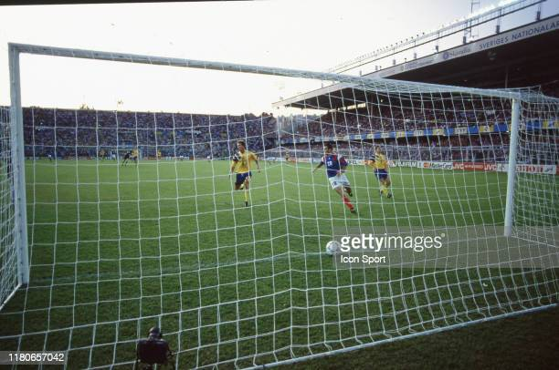 Jean Pierre Papin of France score his goal during the European Championship match between Sweden and France at Rasunda Stadium, Solna, Sweden on 10...
