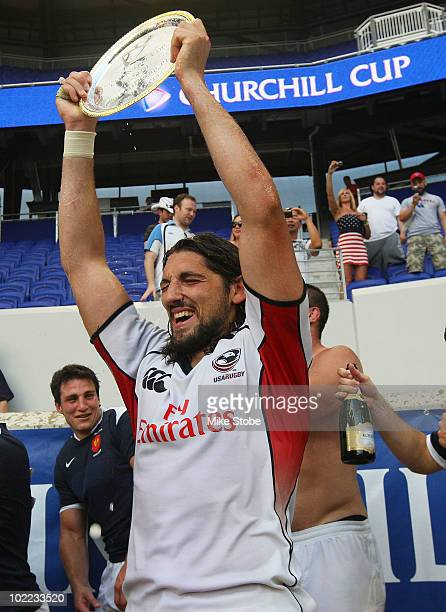 Jean Pierre Perez of France A celebrates after defeating USA in the Plate final during the Churchill Cup on June 19 2010 at Red Bull Arena in...