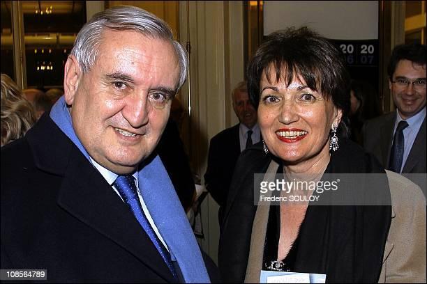 Jean Pierre Raffarin and Anne Marie Raffarin in Paris, France on March 26, 2007.