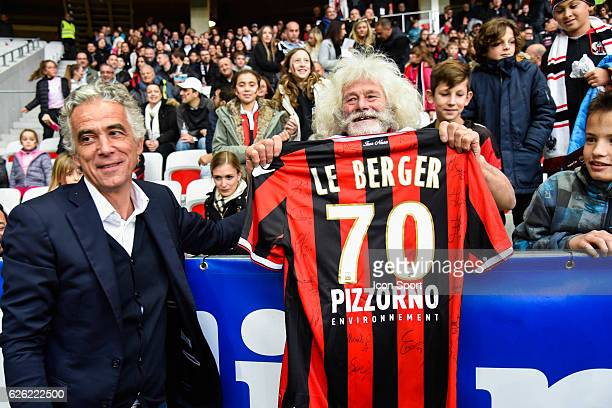 Jean Pierre Rivere president of Nice give a Nice jersey to this 70 years old fan Paul Capietto called Le Berger during the French Ligue 1 match...