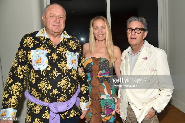 Jean Pigozzi Suzanne Oostdyk and Jackie Jag attend the Galerie Gmurzynska Dinner in Honor of Jean Pigozzi at the Penthouse at the Faena Hotel Miami...