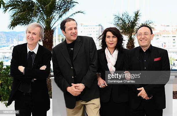 Jean Plantureux Ali Dilem Nadia Khiari and Michel Kichka attends the photocall for 'Cartooning For Peace' during the 66th Annual Cannes Film Festival...