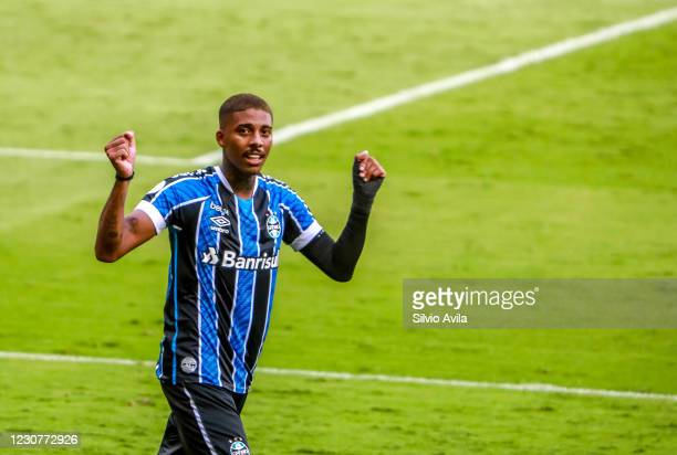 Jean Pyerre of Gremio celebrates after scoring the first goal of their team during the match against Internacional as part of Brasileirao Series A...