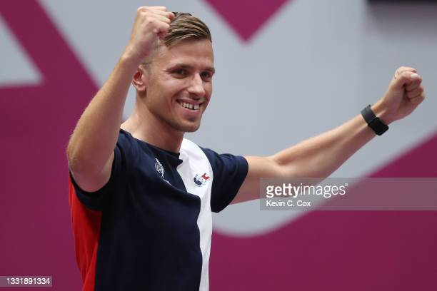 Jean Quiquampoix of Team France wins the Gold Medal in the 25m Rapid Fire Pistol Men's Finals on day ten of the Tokyo 2020 Olympic Games at Asaka...