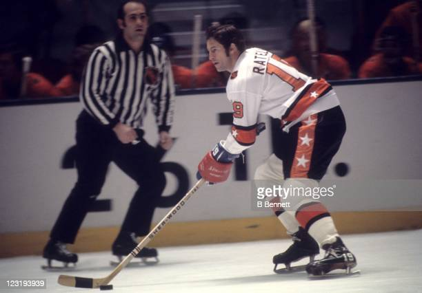 Jean Ratelle of the New York Rangers and Team East skates with the puck during the 26th NHL AllStar Game against Team West on January 30 1973 at the...