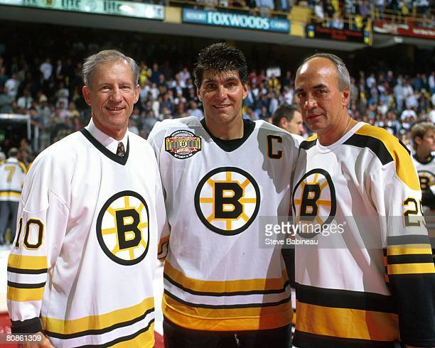 Jean RatelleRay Bourque and Gary Doak of the Boston Bruins pose for camera at the Last Hurrah ceremony celebrating the closing of Boston Garden on...