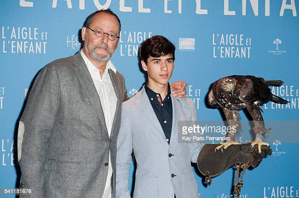 Jean Reno and Manuel Camacho attends the 'L Aigle et L Enfant' Photocall at the cinema Gaumont Capucines on June 19 2016 in Paris France