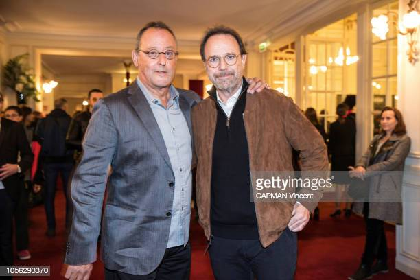 Jean Reno and Marc Levy are photographed for Paris Match at the evening for the Al Pacino show at Le Theatre de Paris on October 22 2018 in Paris...