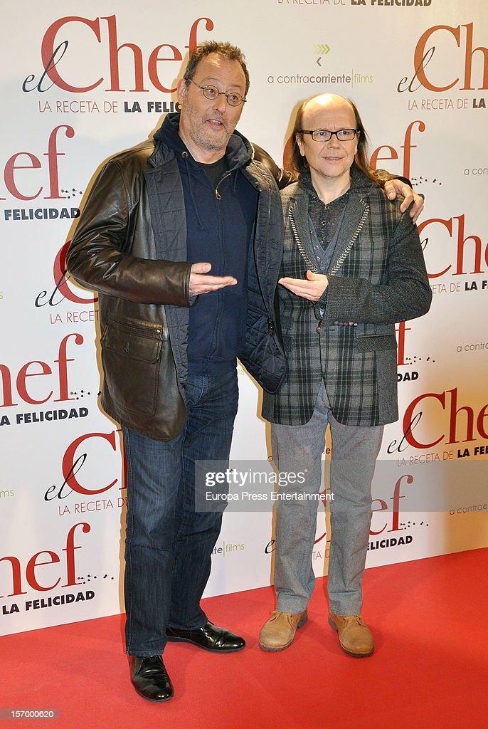 Jean Reno (L) and Santiago Segura attend 'El Chef, La Receta de la Felicidad' premiere on November 26, 2012 in Madrid, Spain.