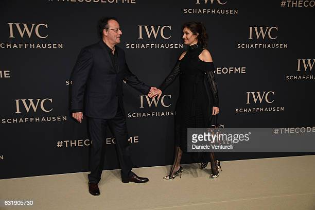 Jean Reno and Zofia Reno arrive at IWC Schaffhausen at SIHH 2017 Decoding the Beauty of Time Gala Dinner on January 17 2017 in Geneva Switzerland