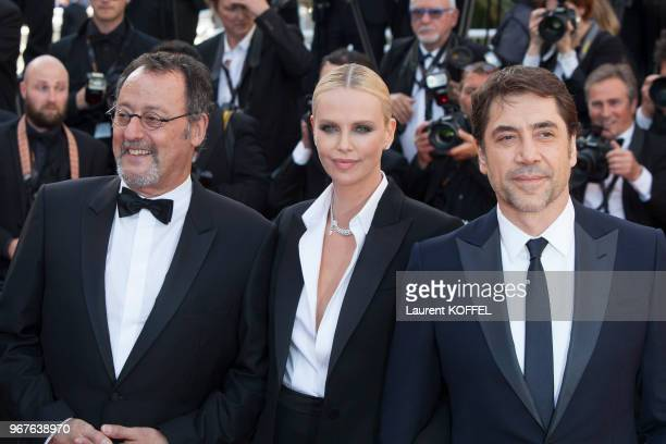 Jean Reno Charlize Theron and Javier Bardem attend 'The Last Face' Premiere during the 69th annual Cannes Film Festival at the Palais des Festivals...