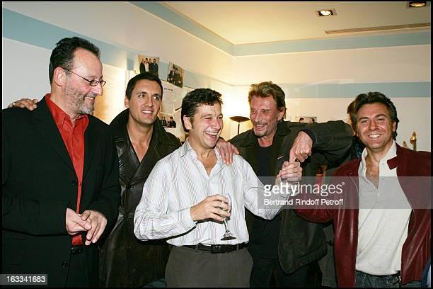 Jean Reno Dany Brillant Laurent Gerra Johnny Hallyday Paul Belmondo and Roberto Alagna at Laurent Gerra Hosts The Television Show Flingue La Tele at...